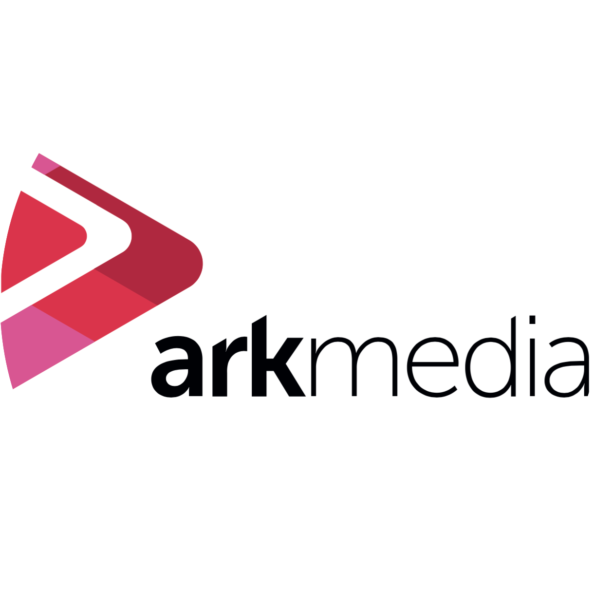 Ark Media logo, featuring two red and pink triangles