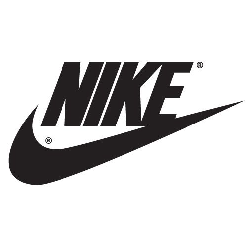 Nike Logo, featuring large black letters and Nike swish